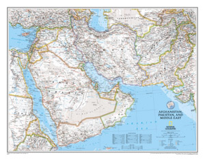 Afghanistan and Pakistan, Middle East WALL Map.