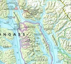 Alaska's Inside Passage Destination Road and Tourist Map.