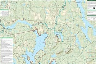 Allagash Wilderness Waterway South Road and Recreation Map, Maine, America.