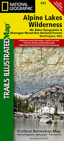 Alpine Lakes Wilderness, Mount Baker/Snoqualmie & Okanogan-Wenatchee National Forests, Road and Recreation Map.