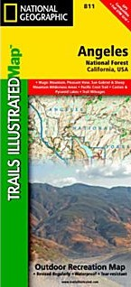 Angeles National Forest Trail Road and Recreation Map, California, America.