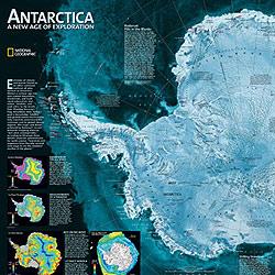 Antarctica Satellite WALL Map.