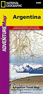Argentina Adventure Road and Tourist Map.