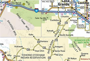 Arizona Road and Physical Tourist Guide map.