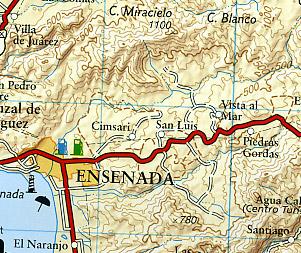 Baja California North Adventure, Road and Tourist Map, Mexico.