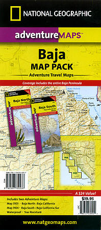 Baja California North and South, Road and Tourist Map, Mexico.