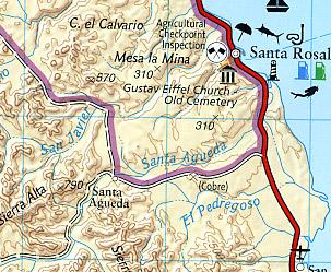Baja California South Adventure, Road and Tourist Map, Mexico.