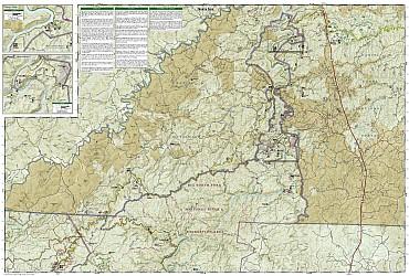 Big South Fork Recreation Map, Kentucky, America.