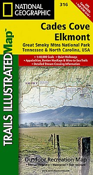 Cades Cove, Elkmont and Great Smoky Mountains National Park Road and Recreation Map