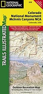 Colorado National Monument, Road and Recreation Map, Colorado, America.
