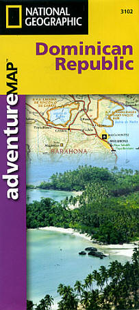 """Dominican Republic """"Adventure"""" Road and Tourist Map, West Indies."""