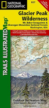 Glacier Peak Wilderness, Mount Baker/Snoqualmie & Okanogan-Wenatchee National Forests, Road and Recreation Map.