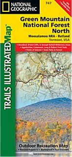 Green Mountains National Forest, Moosalamoo NRA / Rutland, Road and Topographic Map.