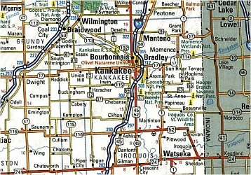 Illinois Road and Physical Tourist Guide map.