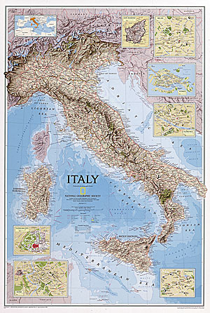 """Italy """"Classic"""" WALL Map."""