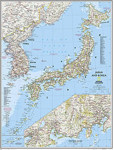 "Japan and Korea ""Classic"" WALL Map."