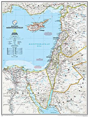 Mediterranean, Eastern Political WALL Map.