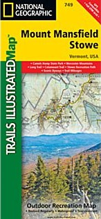 Mount Mansfield and Stowe Trail Road and Recreation Map.