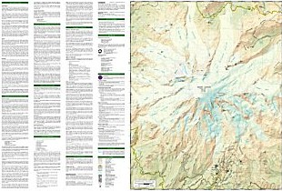 Mount Rainier National Park, Road and Recreation Map, Washington, America.