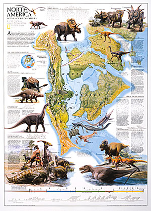 North America in Dinosaur age WALL Map.