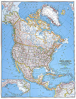 North America Political Large WALL Map.