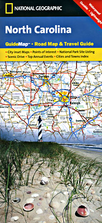 North Carolina Road and Physical Tourist Guide map.