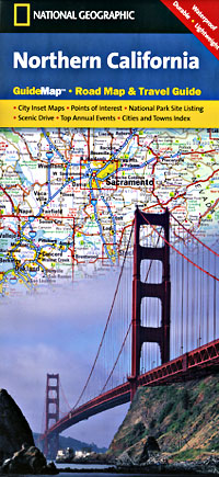 California Northern Road and Physical Tourist Guide map.