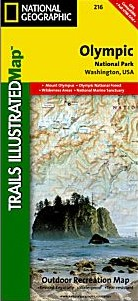 Olympic National Park, Road and Recreation Map, Washington, America.