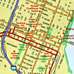 Oregon Road and Physical Tourist Guide map.