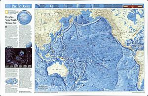 Pacific Ocean 3D Relief WALL Map.