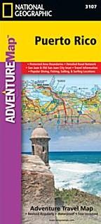 Puerto Rico Adventure Road and Tourist Map, America.