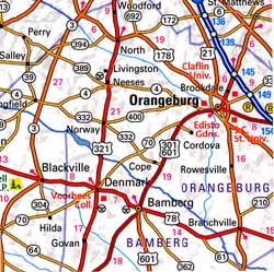 South Carolina Road and Physical Tourist Guide map.