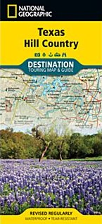 Texas Hill Country Road and Tourist Map, America.