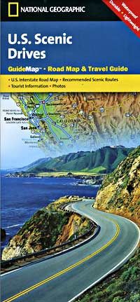 """United States """"Scenic Drives"""" Road and Shaded Relief Tourist Guide map."""