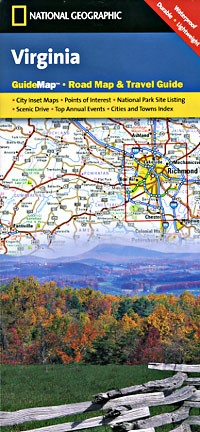 Virginia Guide Map, Virginia, America.