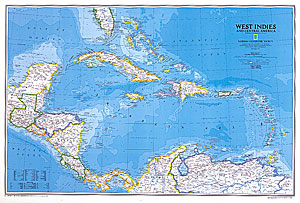 Caribbean (West Indies) WALL Map.