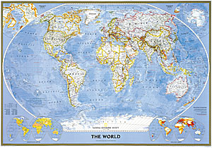 """World Political """"Classic"""" WALL Map."""