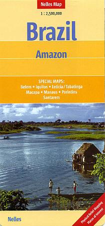 Brazil, Amazon Basin, Road and Tourist Map, Brazil.