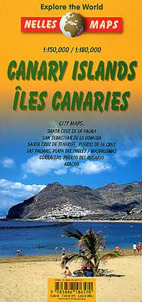 Canary Islands, Road and Shaded Relief Tourist Map, Spain.