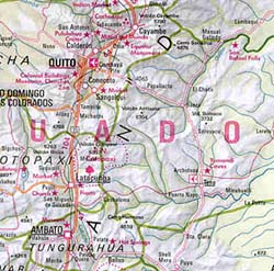 Ecuador and Peru, Road and Shaded Relief Tourist Map.