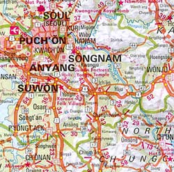 South Korea and North Korea, Road and Shaded Relief Tourist Map.