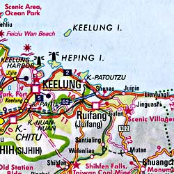 Taiwan Road and Shaded Relief Tourist Map.