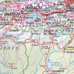 French Guiana, Suriname, Guyana, and Venezuela, Road and Shaded Relief Tourist Map.