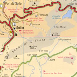 Mallorca and Menorca (Balearic Islands), Road and Physical Tourist Map.