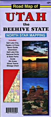 Utah and Salt Lake City National Park Road and Tourist Map,, Utah, America.