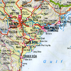 South East Asia, Road and Shaded Relief Travel Reference Map.