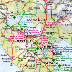 Central America, Road and Shaded Relief Tourist Map.