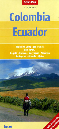 Colombia and Ecuador, Road and Shaded Relief Tourist Map.