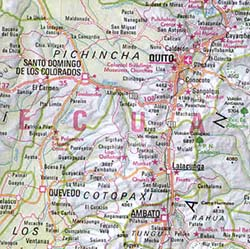 Ecuador and Colombia, Road and Shaded Relief Tourist Map.
