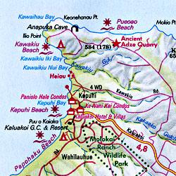 Maui, Molokai, and Lanai, Road and Tourist Map, Hawaii, America.